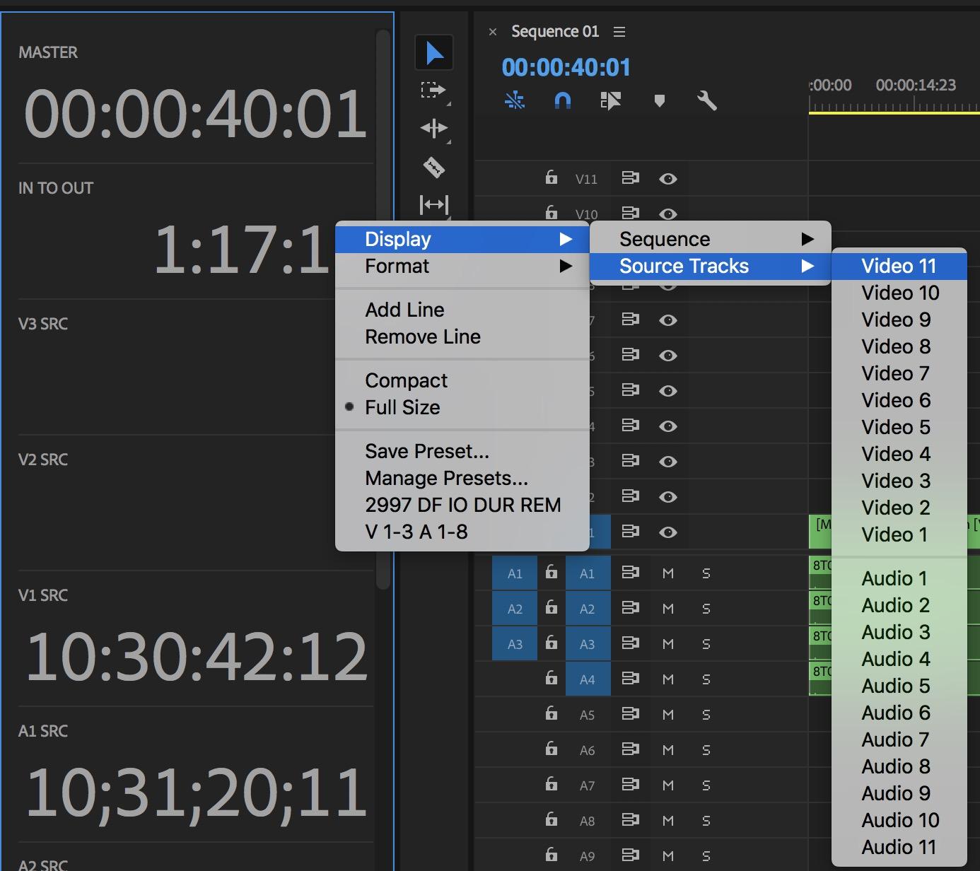 Adobe Premiere Pro timecode tracks