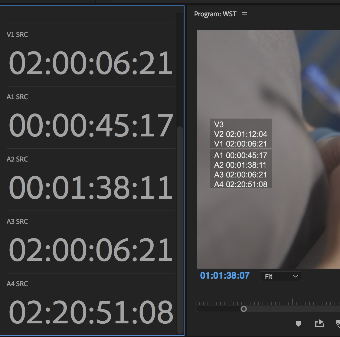 Adobe Premiere Pro timecode overlays
