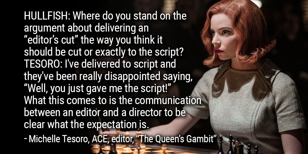 """ART OF THE CUT with Michelle Tesoro, ACE on editing """"The Queen's Gambit"""" 8"""