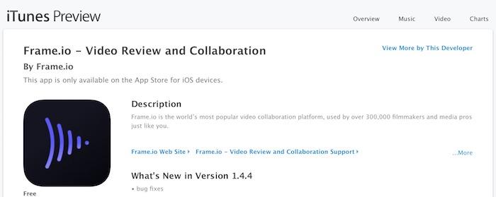 The Frame.io app on iTunes