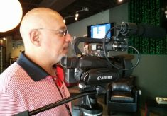 Ríchard Izarra covers my book launch with his Canon XA20