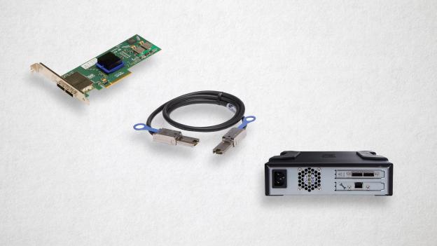 SAS HBA (Host Bus Adapter), SAS Cable, and a SAS LTO drive.