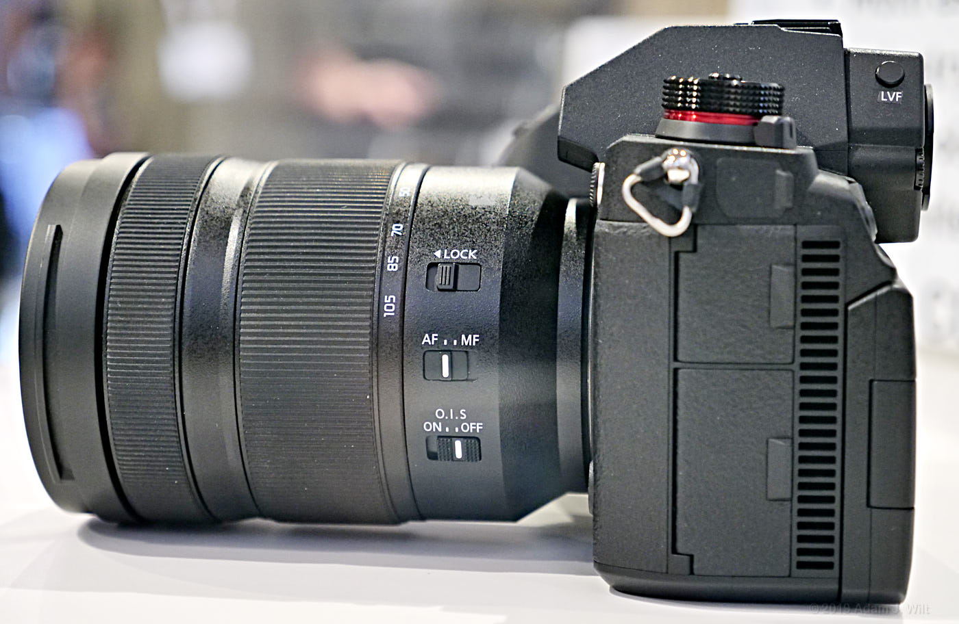 Side view of the S1H with a 24-105mm f/4 macro zoom
