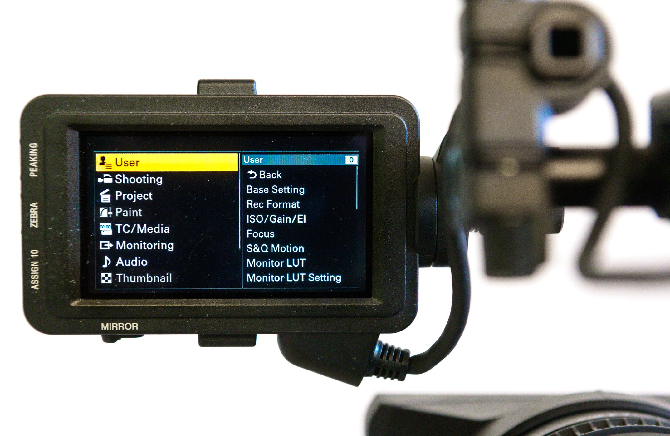 sony FX9 menu