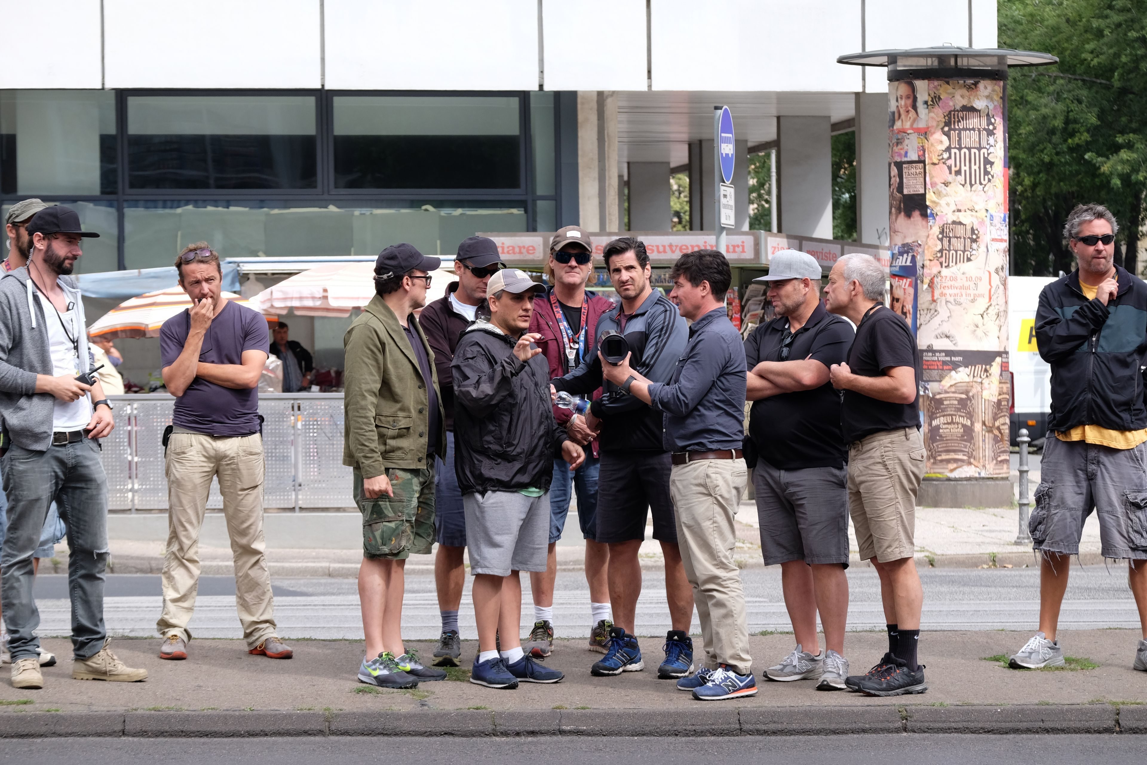 Captain America: Civil War..L to R: Directors Joe Russo and Anthony Russo, w/ D.P. Trent Opaloch and crew on set...Ph: Zade Rosenthal ..©Marvel 2016