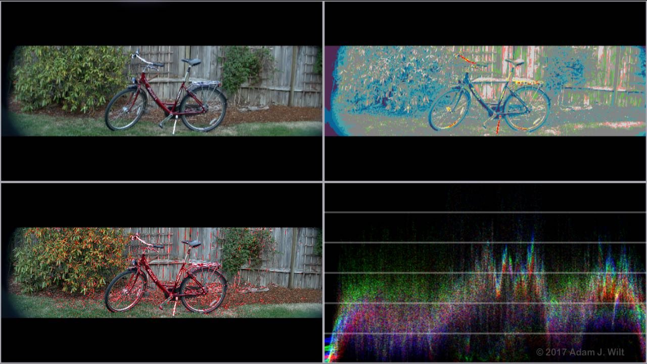 Quad-split display to show false color, WFM, focus assist