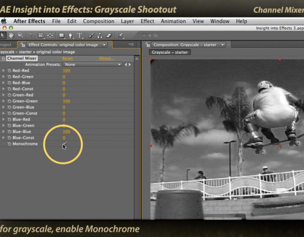 After Effects Channel Mixer for creating grayscale images