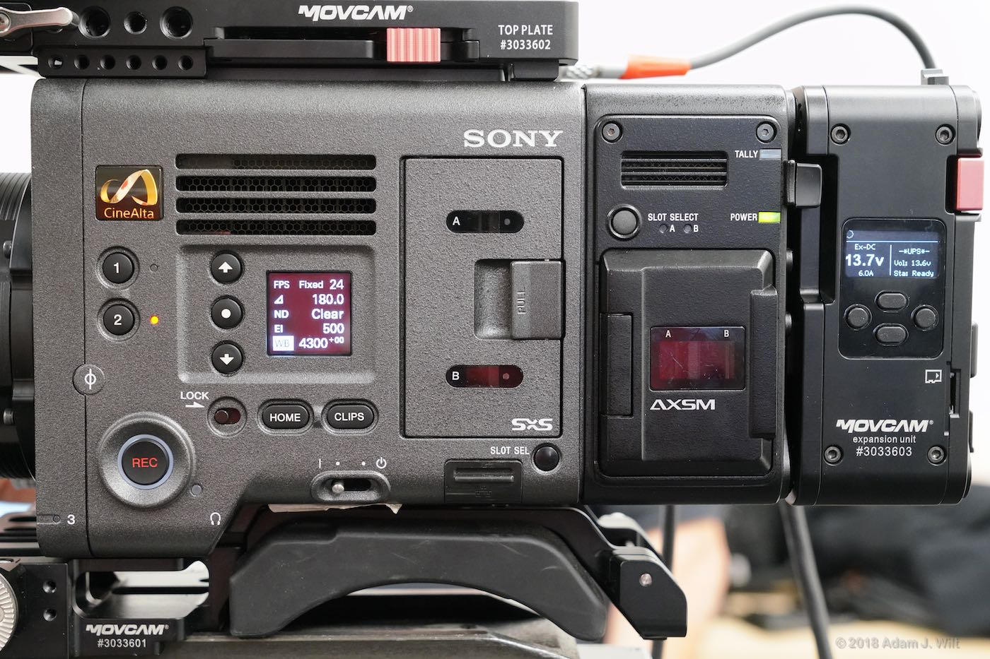 Operator's side of the Sony Venice, raw recorder, and MOVCAM expansion unit.