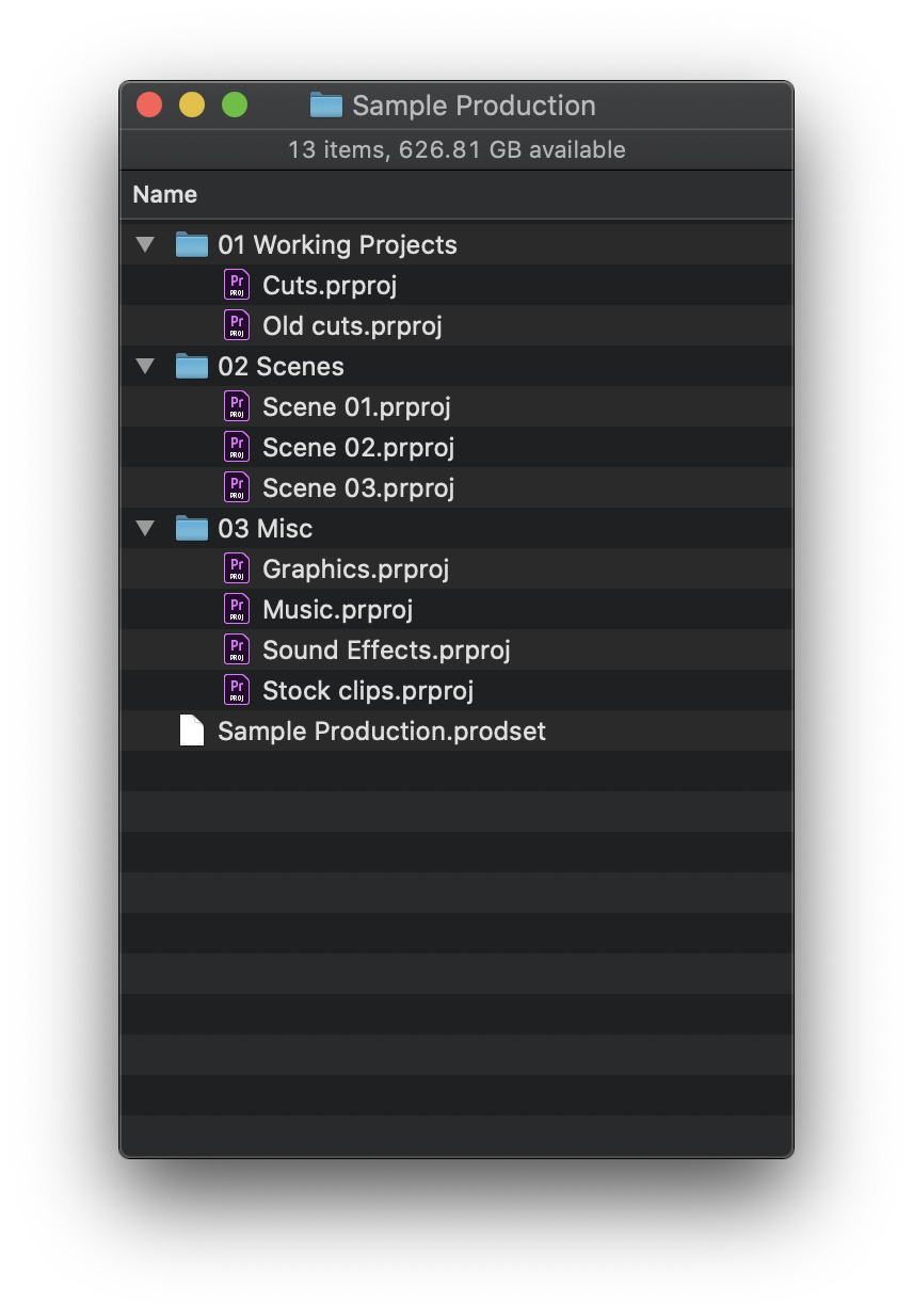 Adobe Premiere Pro Productions in the Mac Finder