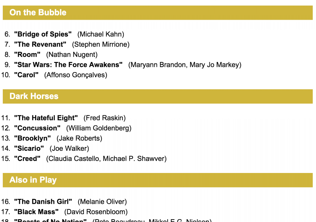 VARIETY BEST EDITING OSCAR PREDICTIONS - Your opinion? 1