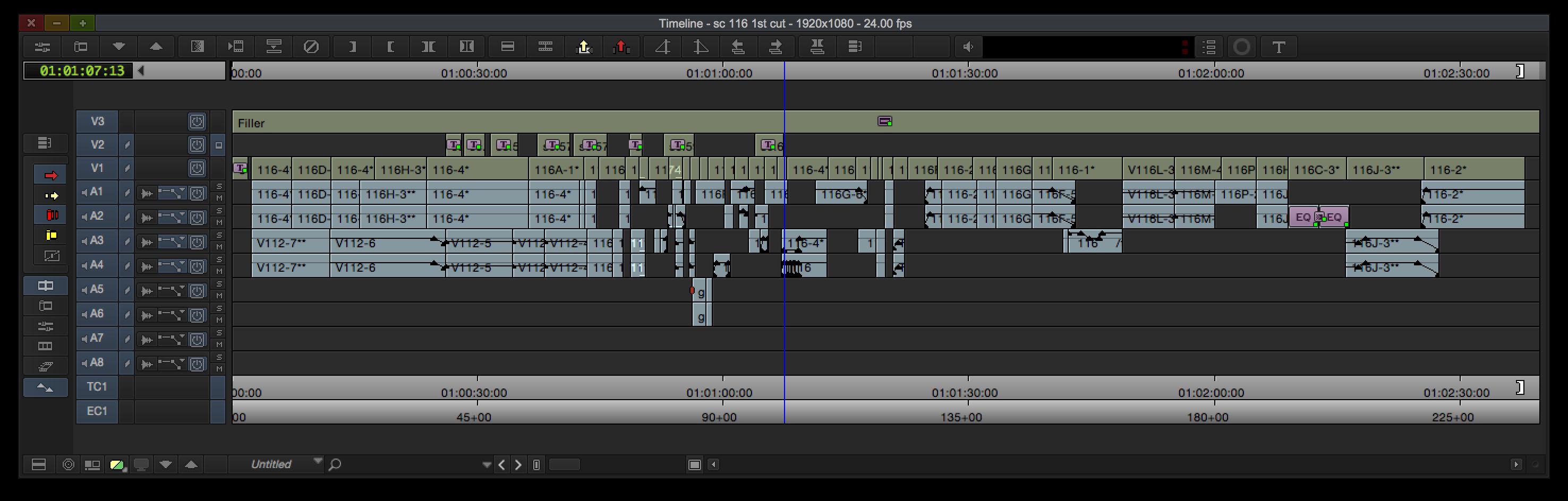 Timeline of the intercut scene