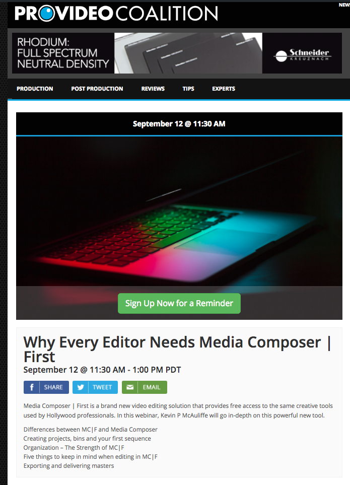 The first 30 days (or so) of Media Composer First by Kevin P