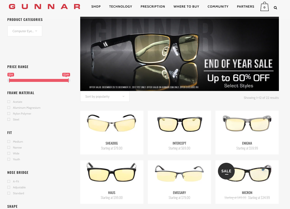 Gunnar Glasses for combating Computer Vision Syndrome (CVS)