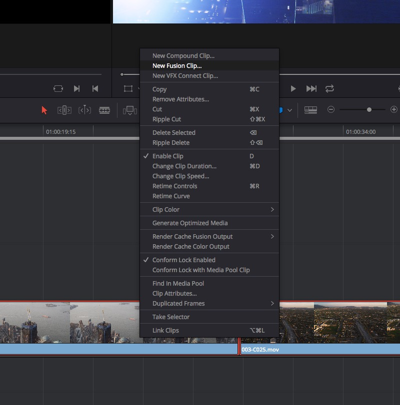 New Fusion Clip in DaVinci Resolve