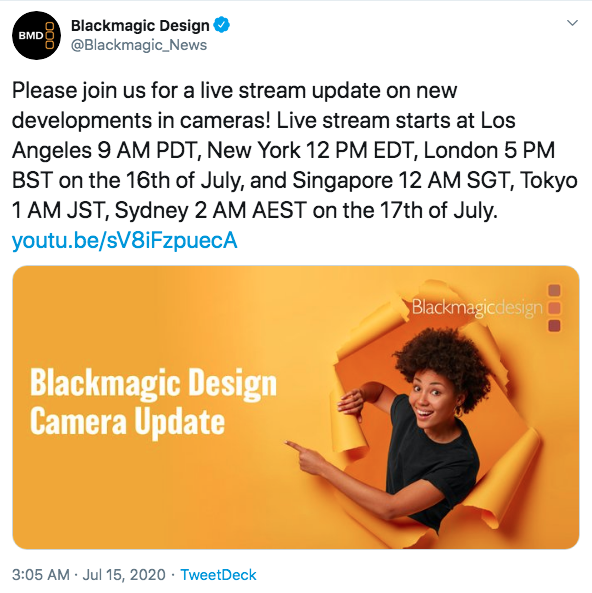 Blackmagic Camera Upates