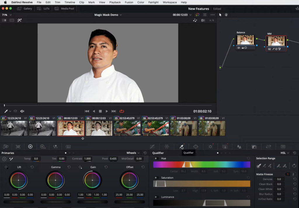 Using Magic Mask & Qualifiers in Resolve 17 1