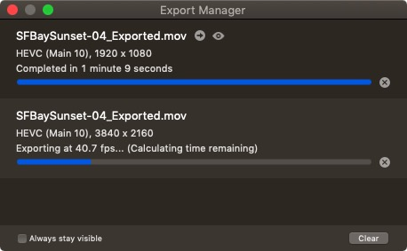 Screen's Export Manager