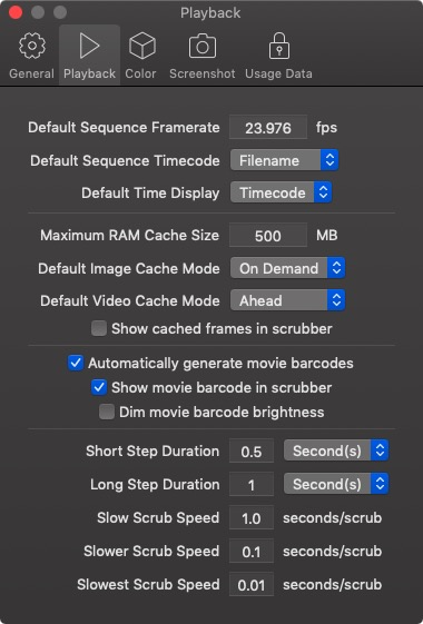 Screen Preferences Playback page