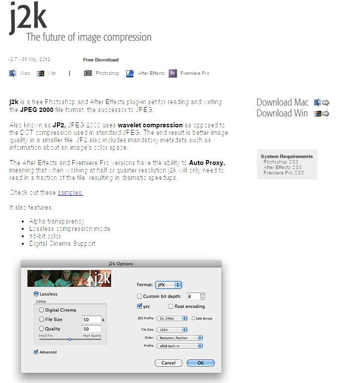 Add JPEG 2000 support to After Effects and Photoshop