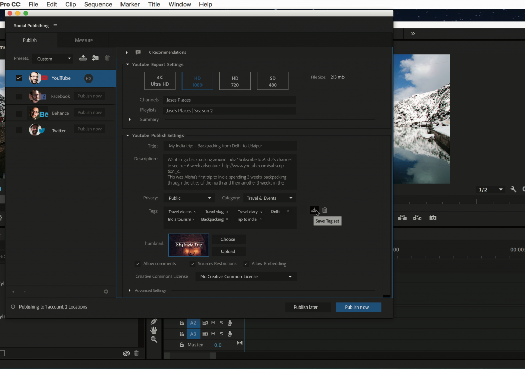 The new Social Publishing panel (beta) in Premiere Pro 1