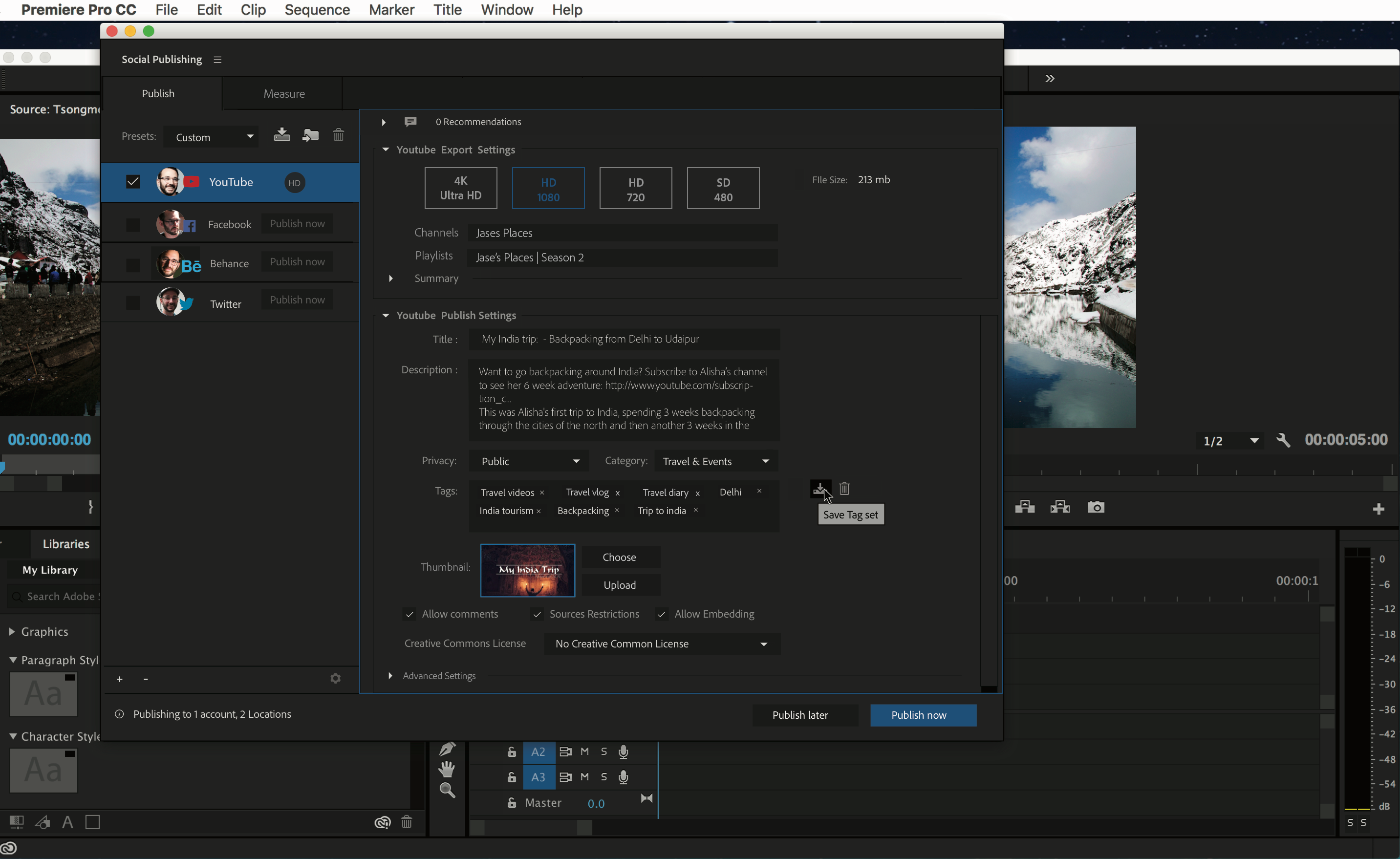 The new Social Publishing panel (beta) in Premiere Pro 10