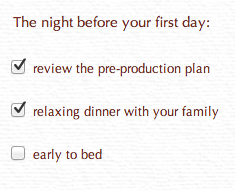 Night-before-production checklist