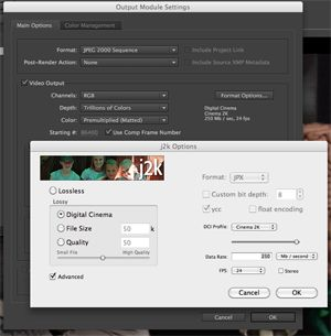 After Effects JPEG2K settings