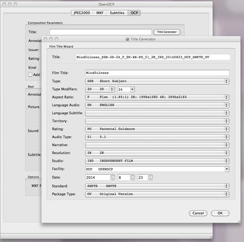 openDCP- title generator