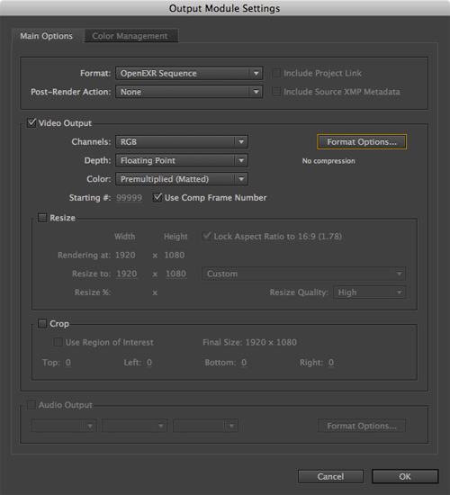 AE Render to EXR Output Module settings