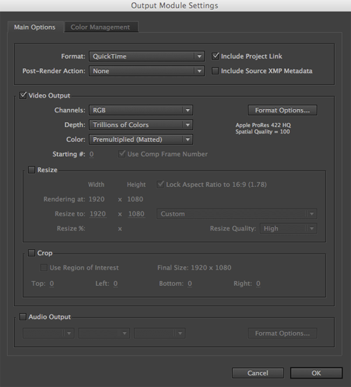 AE Render to QT Output Module settings
