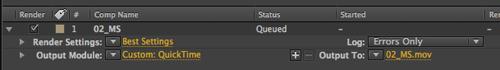 AE Render to QT render settings