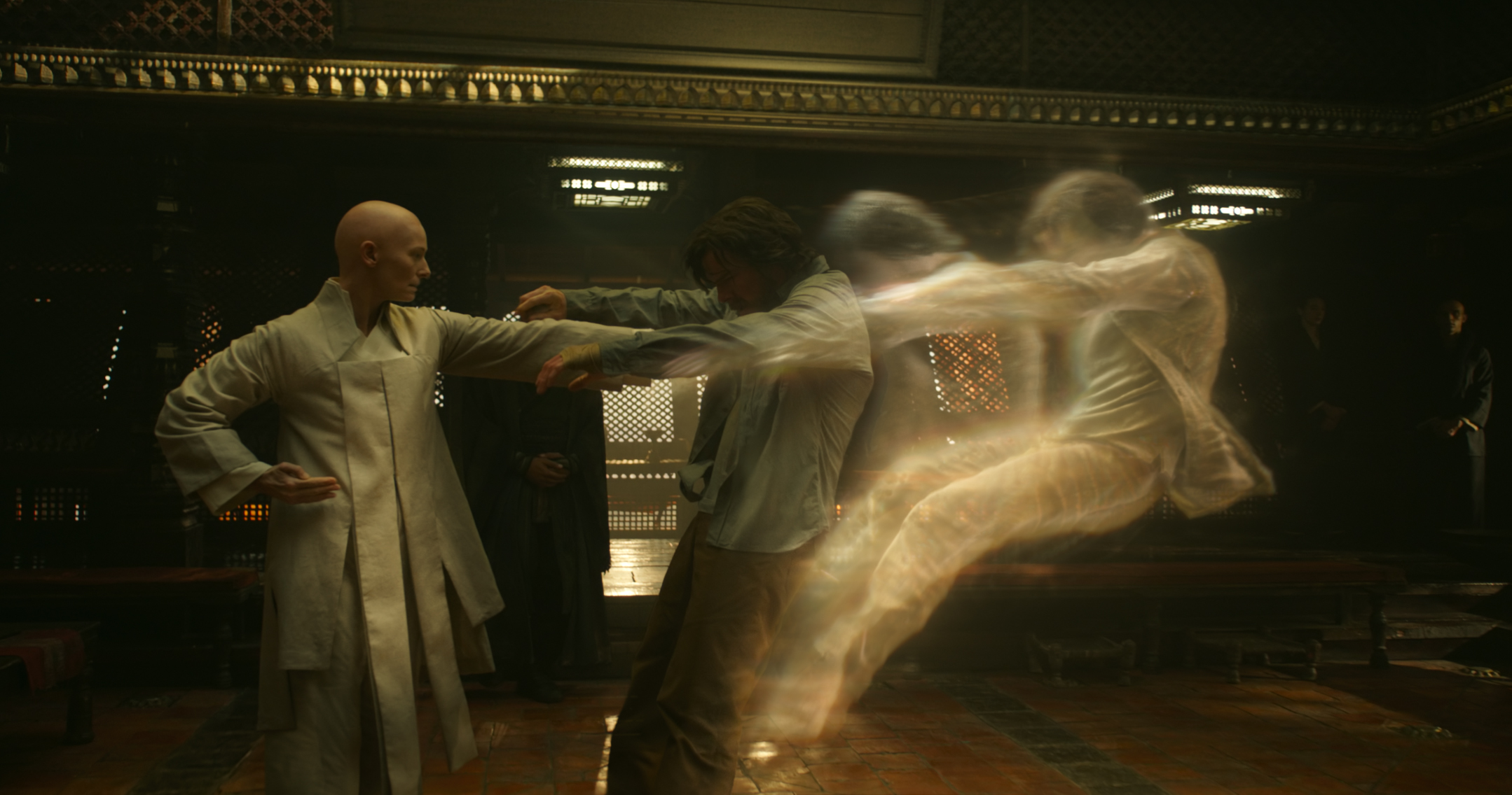 Marvel's DOCTOR STRANGE..L to R: The Ancient One (Tilda Swinton) and Doctor Stephen Strange (Benedict Cumberbatch)..Photo Credit: Film Frame ..©2016 Marvel. All Rights Reserved.