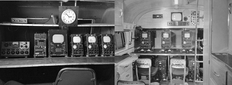 The video shading console for the RCA TJ-48 (on the left) and the Dumont Telecruiser (on the right). Left - photo by author. Right - Provided by the Texas Museum of Broadcasting & Communications www.txmbc.org