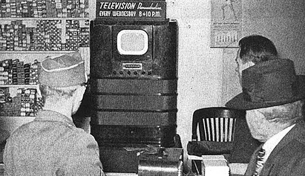 In addition to appliance stores, television demonstrations were a routine attraction in bars and saloons, particularly when a sport even was on. From Todayifoundout.com