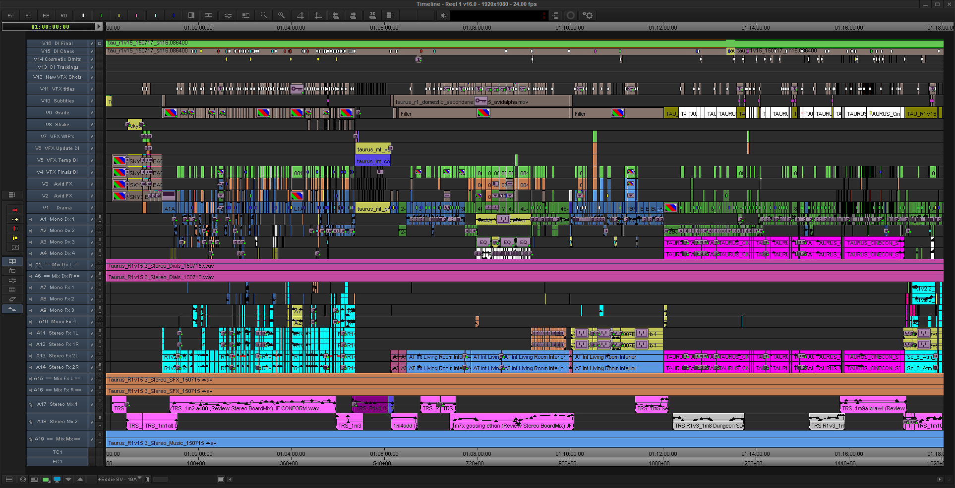 Taurus Final Reel 1 Avid MC Timeline