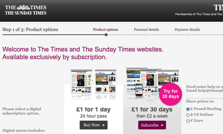 The Times website paywall.