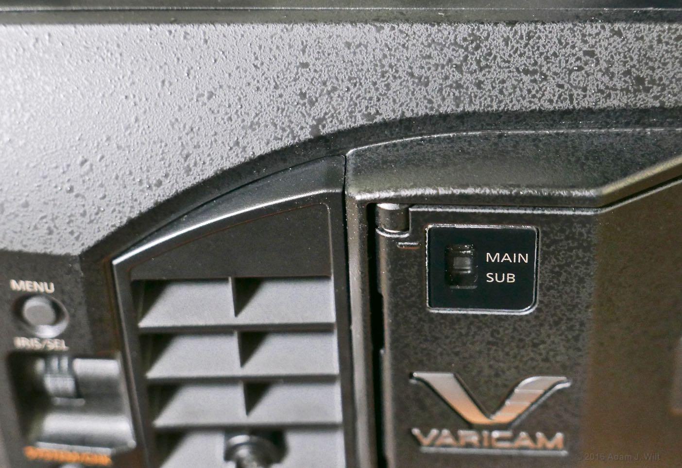 The poky corner of the VariCam's media door