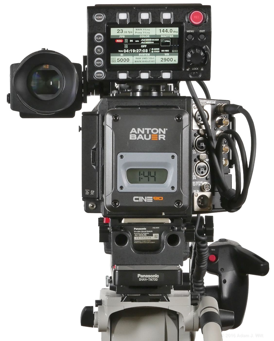 VariCam LT rear view with Cine90 battery