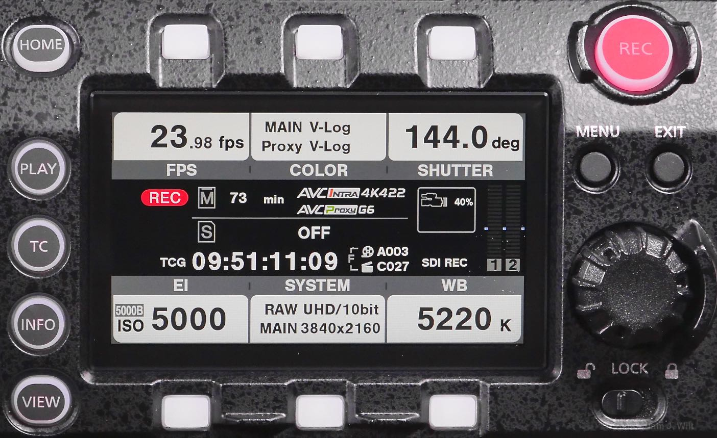 VariCam LT control panel, home screen while recording