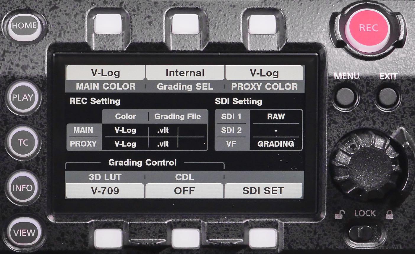 VariCam LT control panel, color page