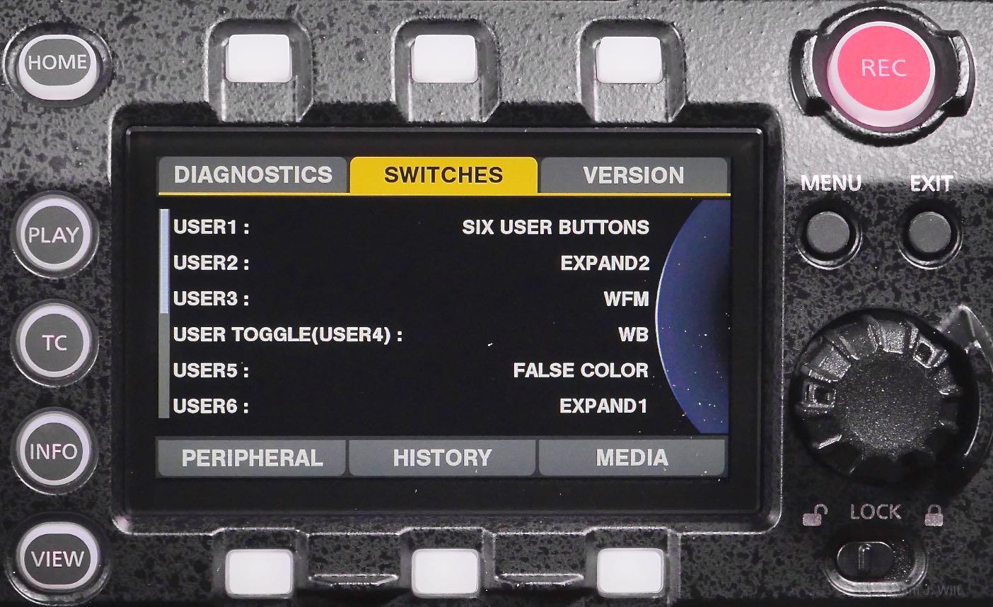 VariCam LT control panel, Info page