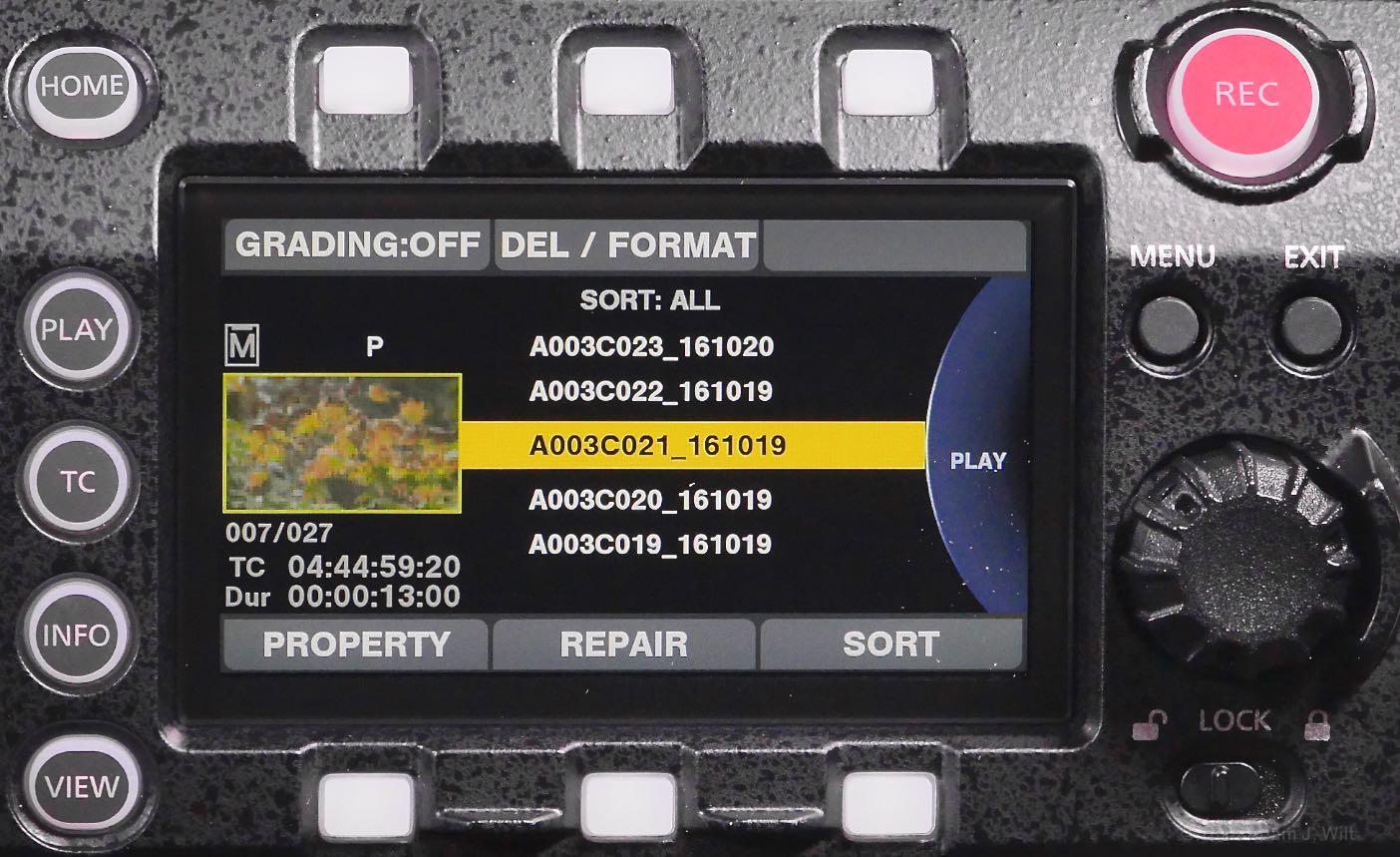 VariCam LT control panel, Play page