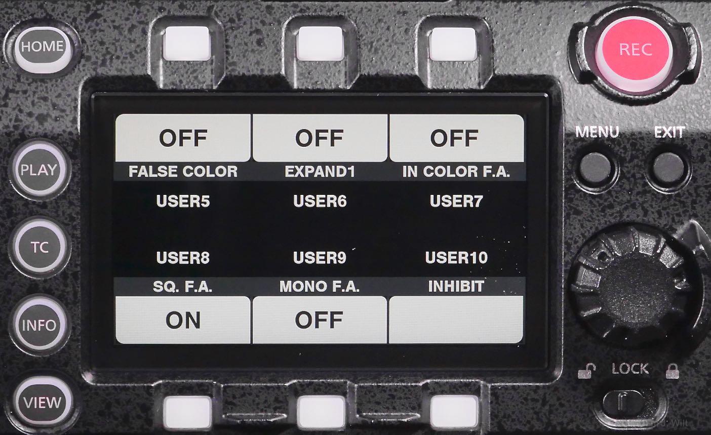 VariCam LT control panel, Six User Functions display