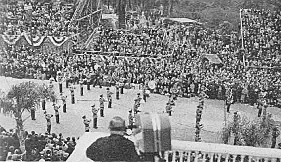"""W6XAO (now KCBS-TV) telecasting the first television remote of the Tournament of Roses Parade in Pasadena, California, January 1st, 1940. From """"Get Ready Now to Sell Television"""" 1944"""