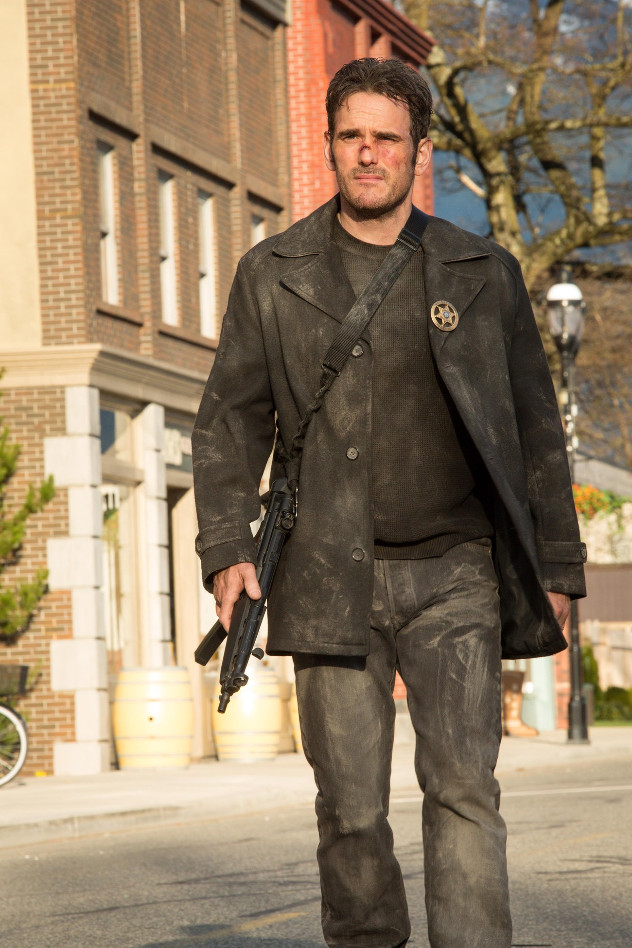 "WAYWARD PINES: Ethan (Matt Dillon) patrols Main Street in the ""Cycle"" season finale episode of WAYWARD PINES airing Thursday, July 23 (9:00-10:00 PM ET/PT) on FOX. ©2015 Fox Broadcasting Co. Cr: Liane Hentscher/FOX"