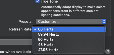 How to set non-integer display framerates in macOS Catalina 3