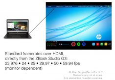 HP ZBook Studio G3: How to output standard framerates over HDMI