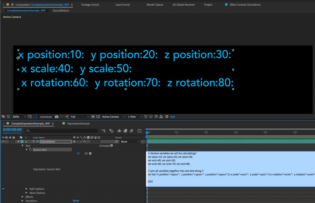 Managing complex expressions in After Effects 17
