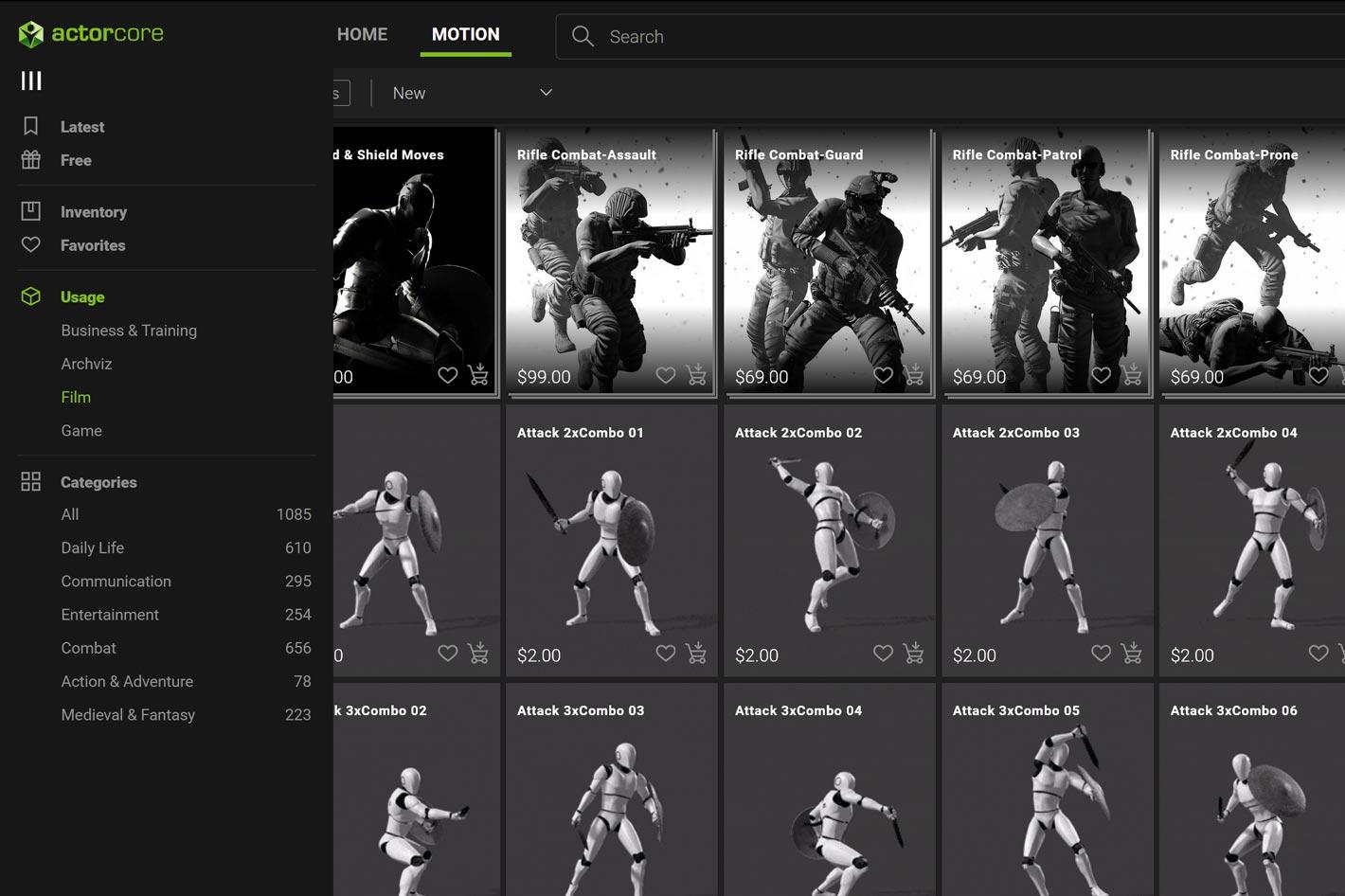 ActorCore: a new 3D mocap motion library online