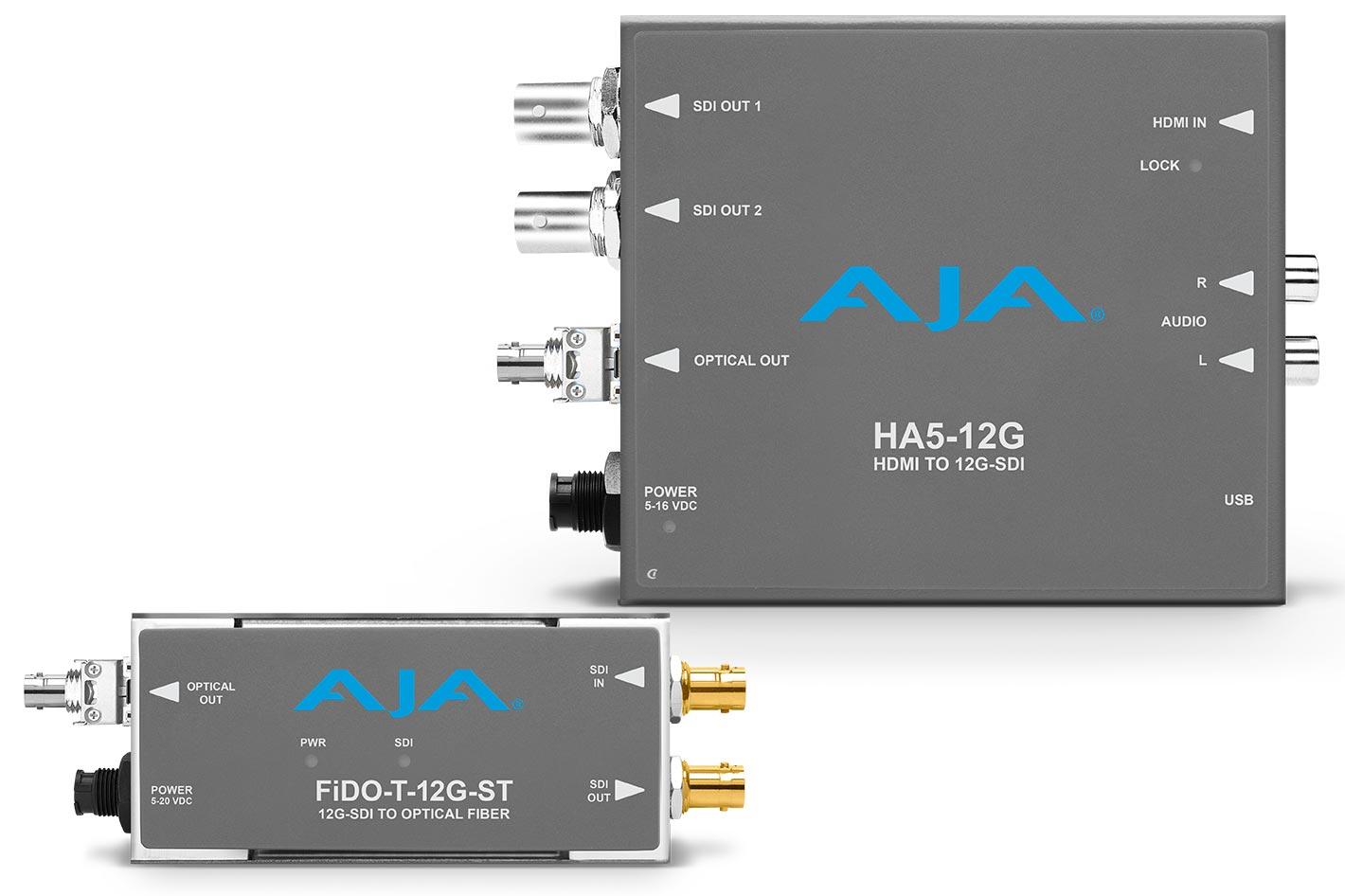 New AJA 12G-SDI Mini-Converters transfer 12G-SDI over long distance